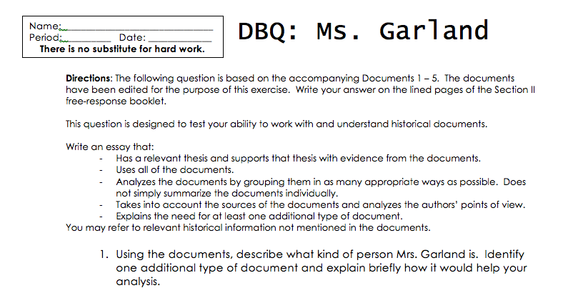 Example of a dbq essay