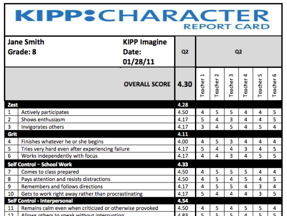 KIPP Report Card sample