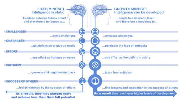 Fixed and growth mindsets chart