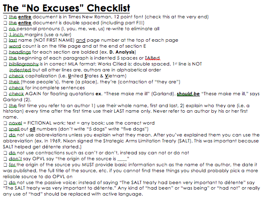No Excuses checklist