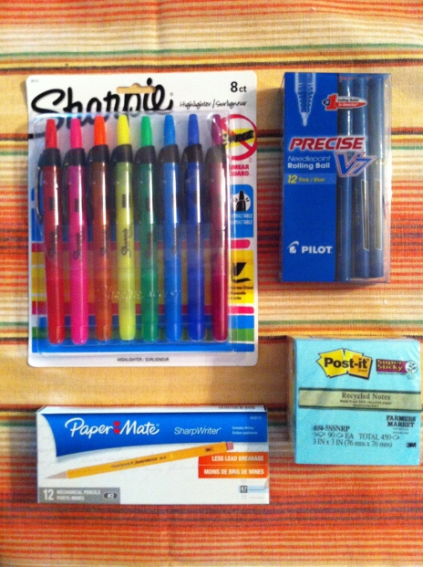 My 2013 school supplies staples